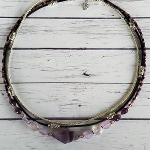 Handmade Leather and Amethyst Necklace